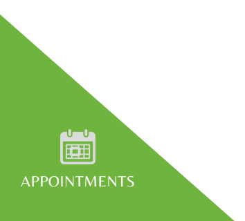 Appointment booking, green triangle, calander icon